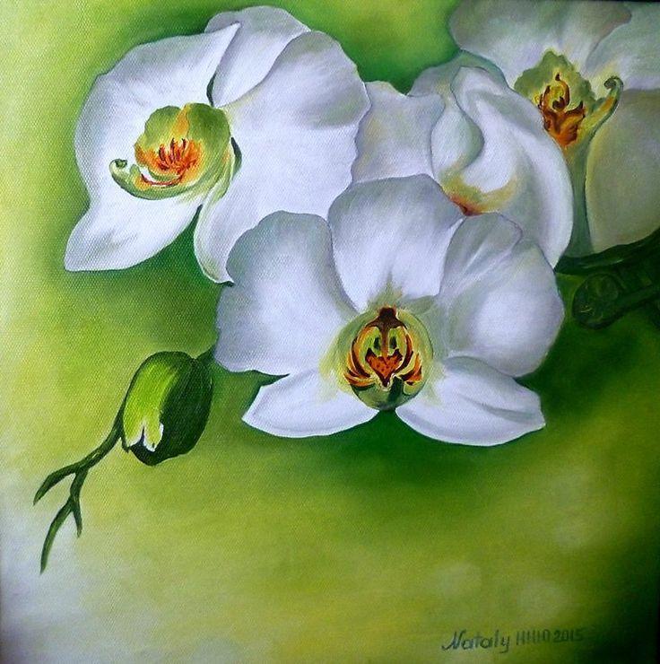 Орхидеи белые - масло, холст - Изобразительное искусство - Масло, акрил