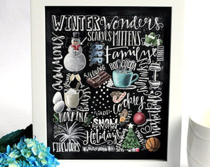Winter Decor, Word Collage vakantie Decor, WordArt, schoolbord kunst, krijt kunst, Winter woorden, Christmas Decor, metro kunst, Happy Holidays