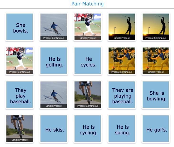 tenses exercise: pair matching