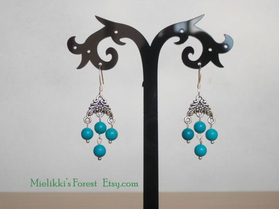 Genuine Turquoise beads earrings.  #Turquoise #TurquoiseEarrings #TurquoiseBeads #EtsyEarrings #Handmade #SterlingSilver #MielikkisForest