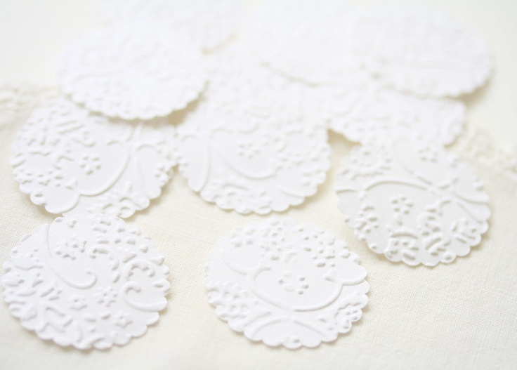 Wedding Stickers Seals -  24 Embossed White French Lace Elegant Seals For Envelopes Gift Wrap Favor Bags :  Wedding Envelope Seals. $8.95, via Etsy.