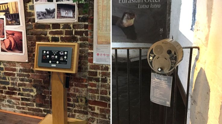 U-Turn Round and AudioFrame 15 used at Winchester City Mill, National Trust. Provide audio points for interpretive information to visitors.