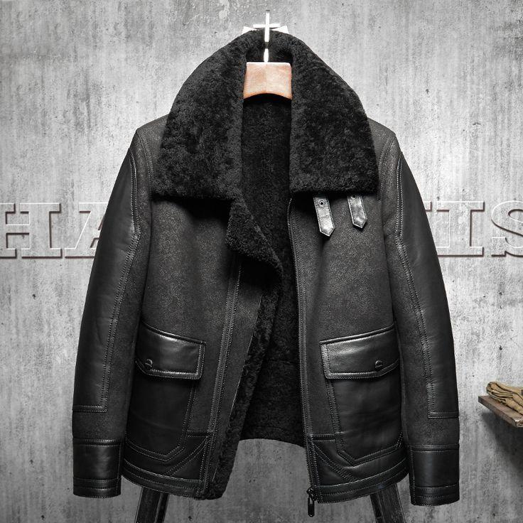 2017 New Original Flying Jacket Black B3 Jacket Shearling Leather Jacket Men's Fur Coat Aviation Leathercraft Pilots Coat(China)