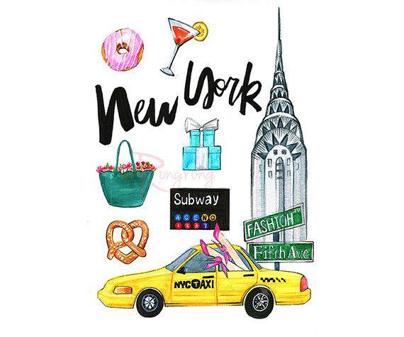 New York City art NYC art print  by RongrongIllustration on Etsy