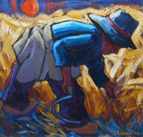 HENNIE NIEMANN 'Man harvesting' Oil on board 49 x 52cm R 52 000