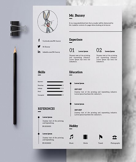 Clean Simple Resume Photoshop Mockup