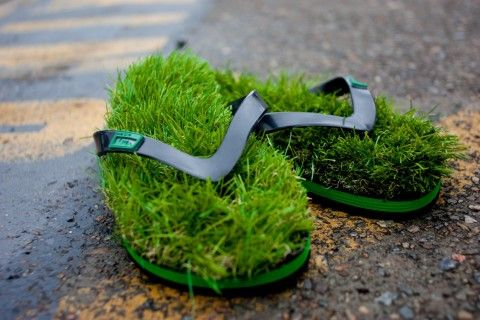 WANT! KUSA Originals. Normally I hate #flip-flops but I can't resist walking on #grass and take a #meadow with me wherever I go. Coolest #shoe ever.