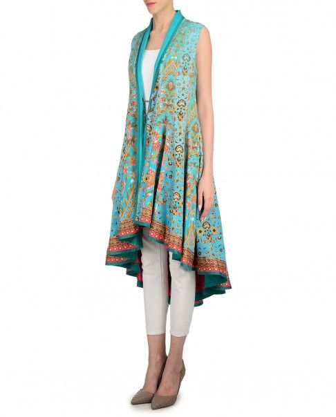Blue cotton silk sleeveless jacket hand painted floral motifs and asymmetric hemline. Wash Care: Dry clean onlyDisclaimer: Pant shown here is only for styling purpose