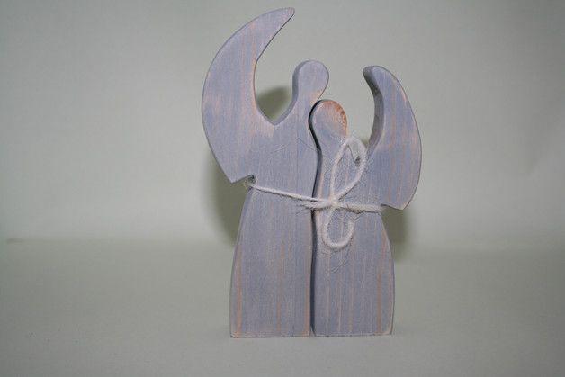 Deko und Accessoires für Weihnachten: Engelchen aus Naturholz im vintage Stil made by Das Holzschaf, Schönes aus Holz und Wolle via DaWanda.com
