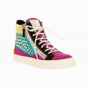 Giuseppe Zanotti High Top Studded Sneakers Multicolor