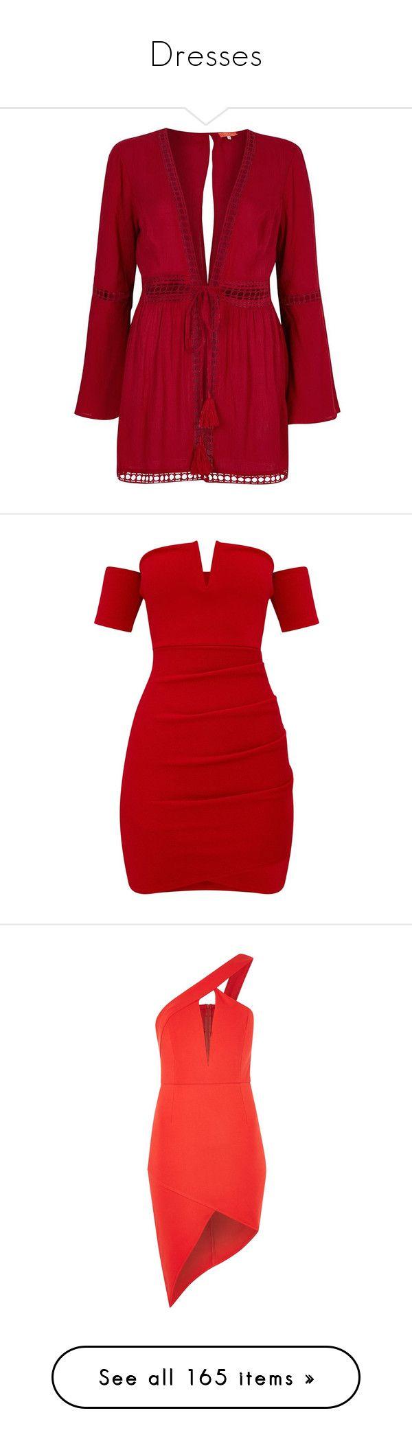 """Dresses"" by mollystedman30 ❤ liked on Polyvore featuring dresses, red, tops, sale, swimwear & beachwear, women, river island, long caftan, beach caftan and long beach kaftan"