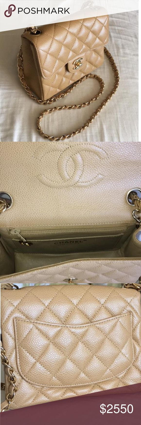 Chanel Caviar Mini Flap Bag CHANEL classic square mini flap bag in Caviar leather. Excellent condition with no rubbing, peeling, color transfer, odor, etc. all hardware in fully functioning condition. Iconic piece. CHANEL Bags Mini Bags