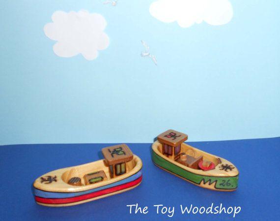 Mini Fishing Boat - Small Boat that Floats by TheToyWoodshop on Etsy, $15.00