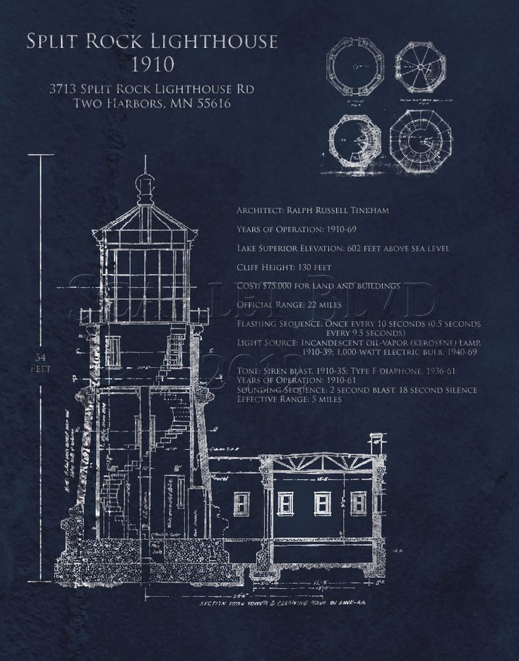Split rock lighthouse architectural blueprint art print for Architecture blueprints