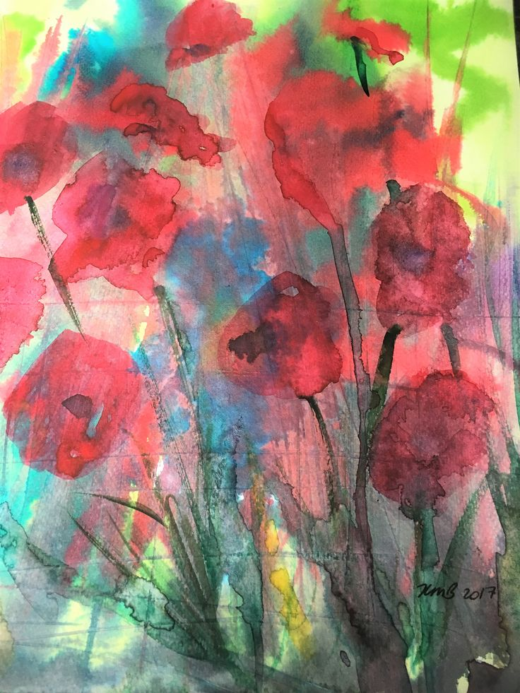 New Original Poppy / Poppies mixed media painting by KnottyThistle on Etsy