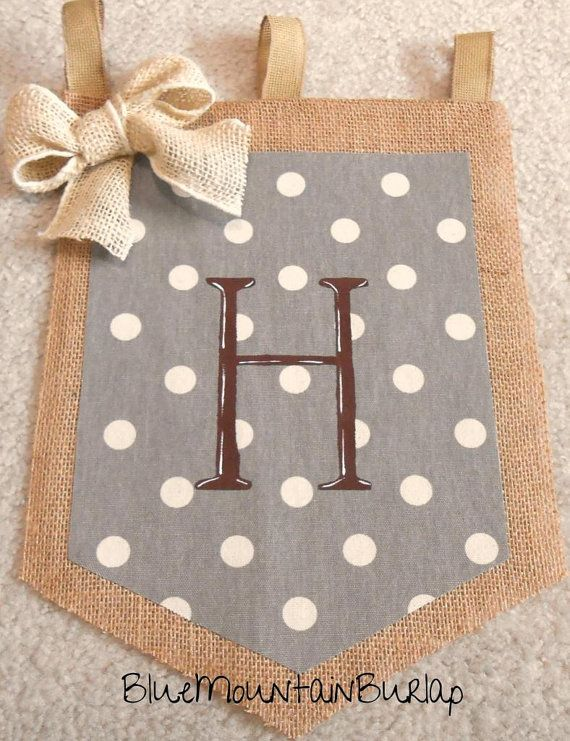 WANT THIS!!!!   Burlap Polka Dots Garden Flag with Initial by BlueMountainBurlap, $22.00