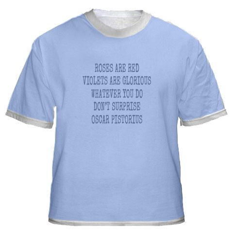 Oscar T Shirt - does he have a leg to stand on? https://timezonepress.wordpress.com/2015/04/04/casebook-classic-crime-magazine/