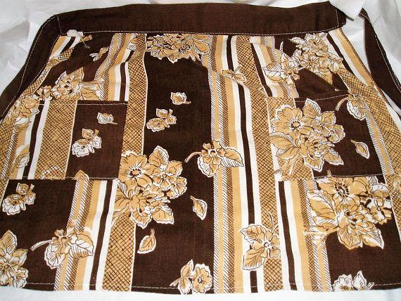 apron  half apron  vintage apron  60s apron  one size