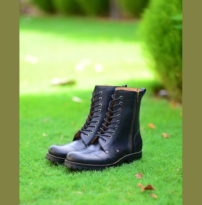 New Men Military Lace Up Boots Men Leather Combat Boots, Men Military Boots - Boots