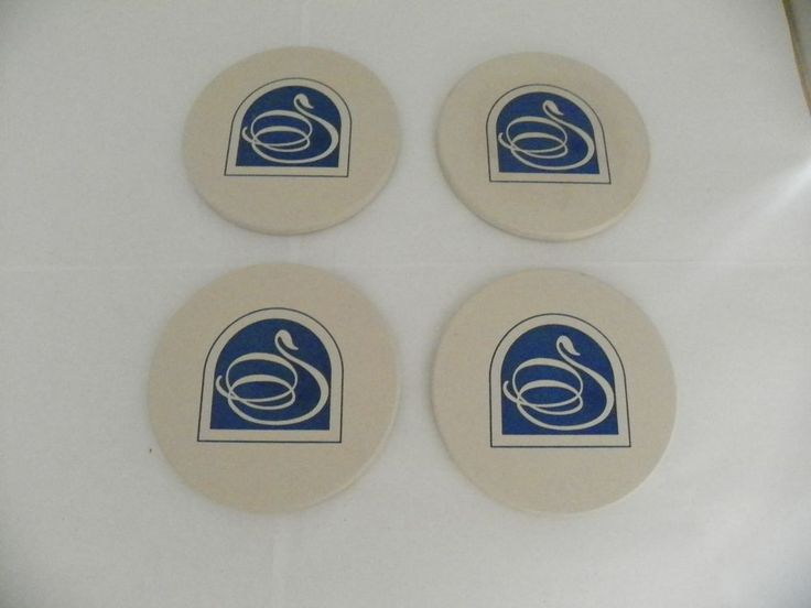 SET OF 4 COASTERSTONE SANDSTONE COASTERS HINDOSTONE SWIRL DESIGN BLUE & WHITE #CoasterStone