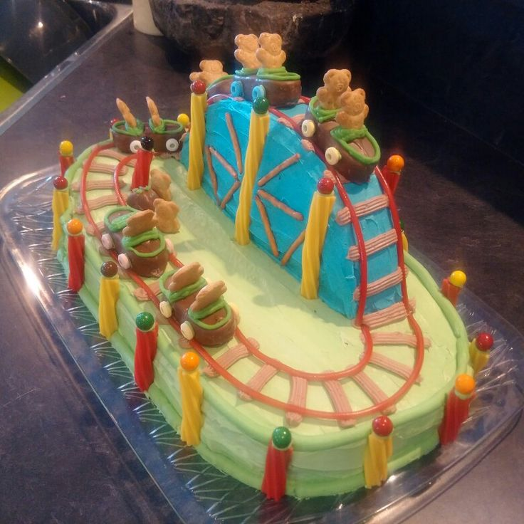Teddy bear roller coaster cake