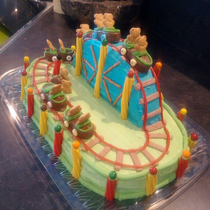 Teddy bear roller coaster cake
