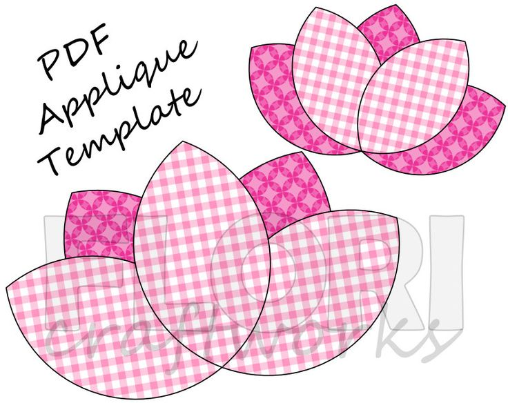 Lotus Flower PDF Applique Template Pattern