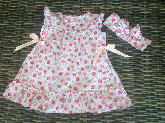 Baby girls size 1 pink floral shabby chic dress and matching