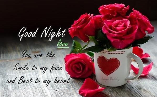 Good Night Love . You are the smile to my face and beat ti my heart.