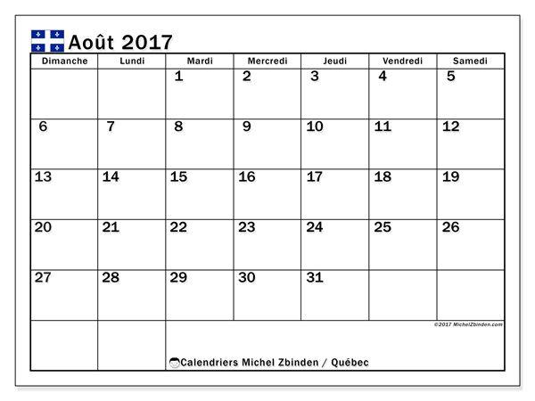 Calendrier à imprimer gratuit août 2017, avec les jours fériés du Québec