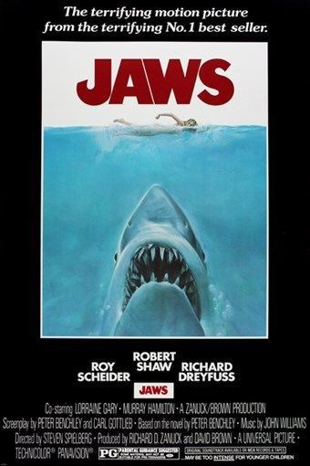 JAWS movie poster CLASSIC SHARK TERROR STEVEN SPIELBERG naked attack 24X36 - VY1