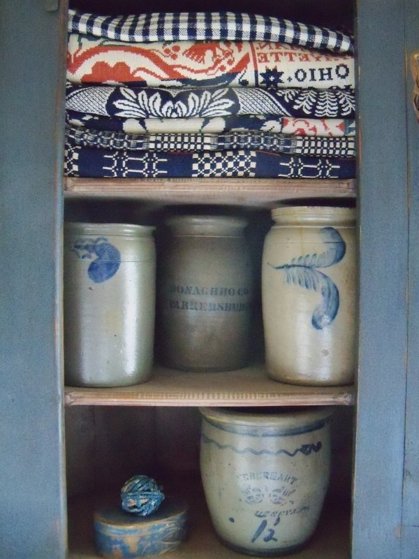 love the old textiles and crocks
