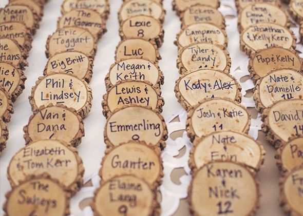 Wood Place Cards from rusticweddingchic.com
