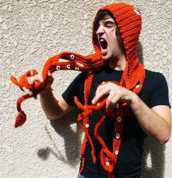 CROCHET PATTERN PDF - Kraken Of The Sea Scoofie - Mythological Creature Hooded Scarf Couture  hättest du lust auf das? weil....woah o.o