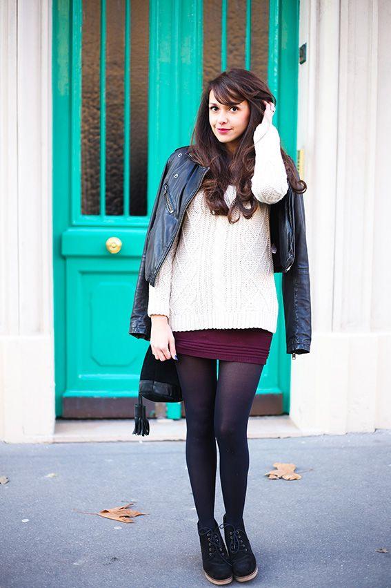 Dollyjessy blog mode et lifestyle tenue d 39 hiver maille - Tenue avec jupe en cuir ...