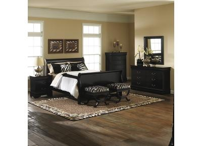 badcock furniture carrington bedroom queen sleigh bed in black