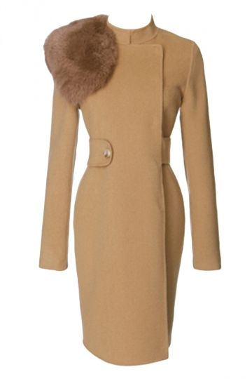 Khaki Trendy Womens Fox Fur Collar Warm Winter Tweed Coat