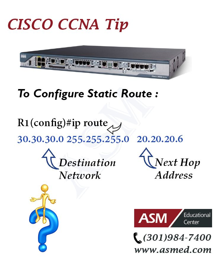 Cisco CCNA Training / Tip -To Configure Static Route .For more information to become Certified for  Cisco CCNA   Please visit: http://www.asmed.com/information-technology-it/
