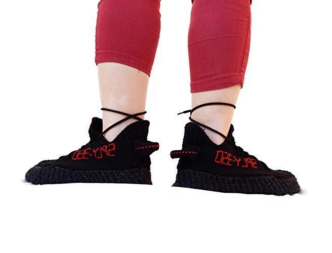 Crochet Yeezy Boost 350 Pirate Black, Knitting Yeezy Boost 350 Home  Slippers, Kanye West Adidas Crochet Yeezy Boost Sply 350 Black