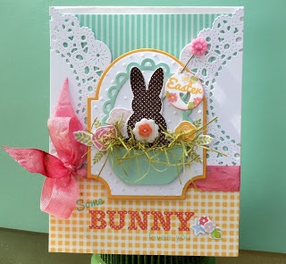 Beautiful card from Artful Notions. She is so talented, I can never get enough of the projects she posts! The new bunny stamp from PTI (Polka Dot Parade #1) is fantastic and looks perfect on this card.