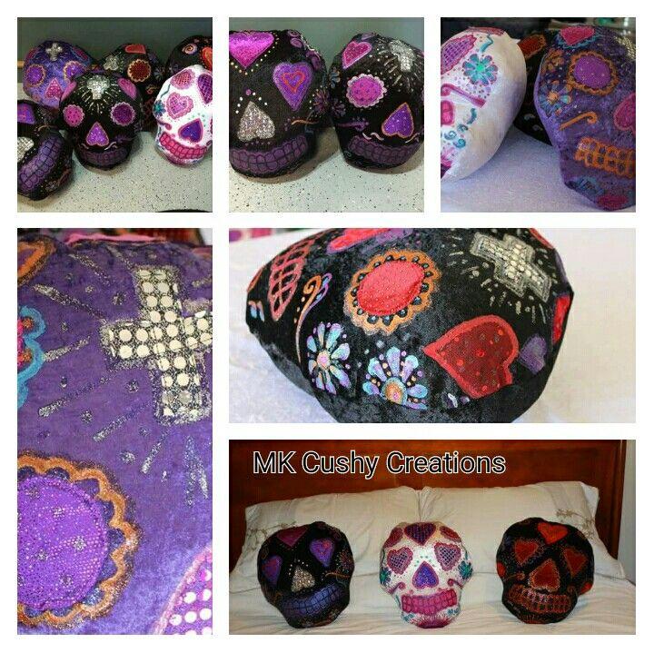 Sugarskull Cushions #Skullcushion #skull #skullart #artsy #mkcushycreation #mkcushy #sugarskullcushions #sugarskull