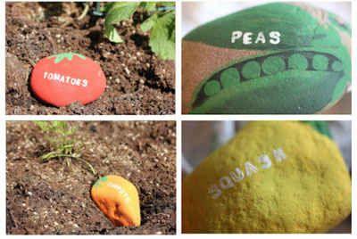 Stenen als naamplaatjes voor je groentetuin.  Leuk om te doen (met kinderen).