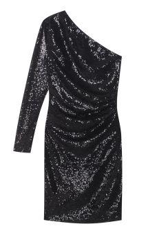 Платье с пайетками T-Skirt - Черное платье мини с пайетками и одним рукавом в интернет-магазине модной дизайнерской и брендовой одежды