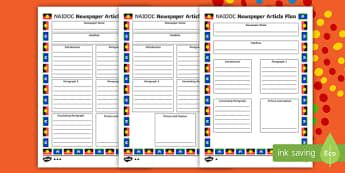 NAIDOC Week Newspaper Article Plan Writing Template - recount, report, layout, planning, format, Australia, history, Aboriginal history, Australia