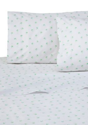 Southern Tide  Palms California King Sheet Set - Multi - California King Deep Pocket Pillowcase, Flat & Fitted Sheet Set