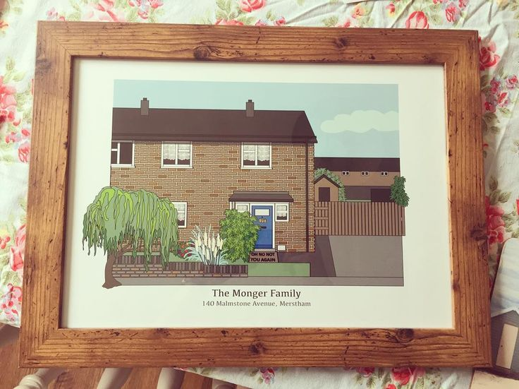 Phew! She loved it...! A commission by my lovely best friend @carmilatham of the house mum was born & grew up in for her 60th! #birthday #gift #houseprint #Merstham #Surrey #60th #TheMongers #NannyVera #GrandadBert