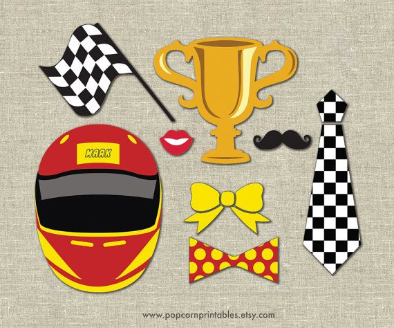 Race Car Photo Booth Props DIY Instant di PopcornPrintables, $5.00