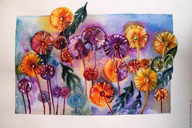 Купить Картина акварелью. Одуванчики - рыжий, одуванчики, шары одуванчиков, картина акварелью, картина в подарок