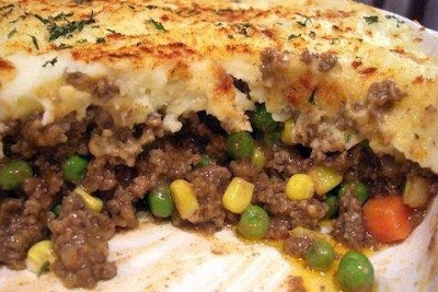 Rachael Ray Shepards Pie...gotta try it in the winter..... I used my own homemade mashed potato recipe and used 2 1/2 cups mixed frozen veggies and topped it with cheese before baking it for 15 mins -MO