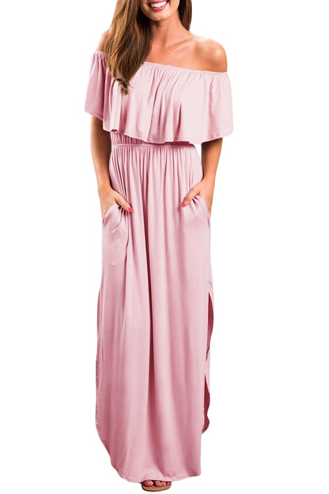 Pink Flounce Off Shoulder Maxi Jersey Dress Only Us 10 7 Dresses Drop Shipping From China Wholer